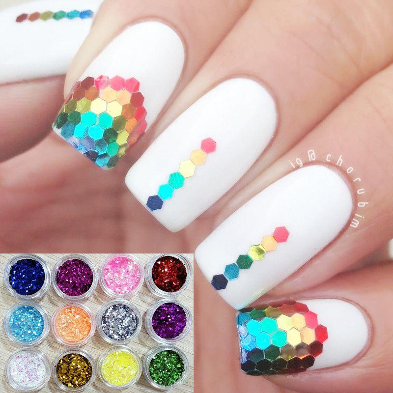 Image Result For Hexagon Glitter Nail Art Fancy Fingernails