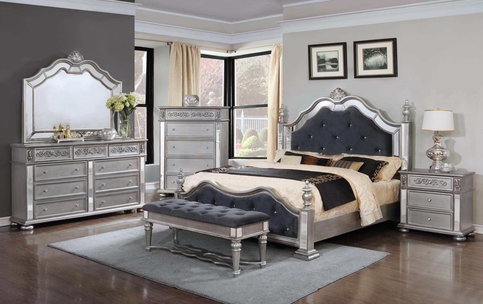 Elegant Silver Bedroom Set  Bedroom Furniture Sets  Silver