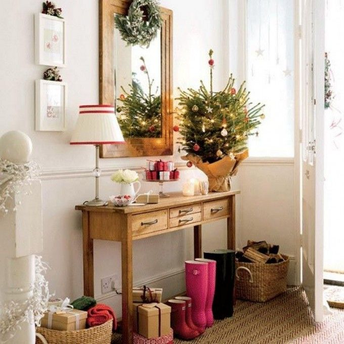 Charming Wreath And Framed Wall Mirror Decor Idea Feat Cool Side Table With Built In Drawers Design