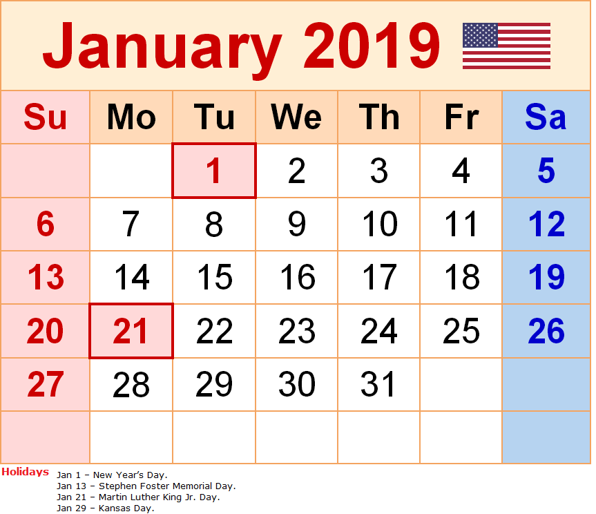 January 2019 Calendar With Holidays United States