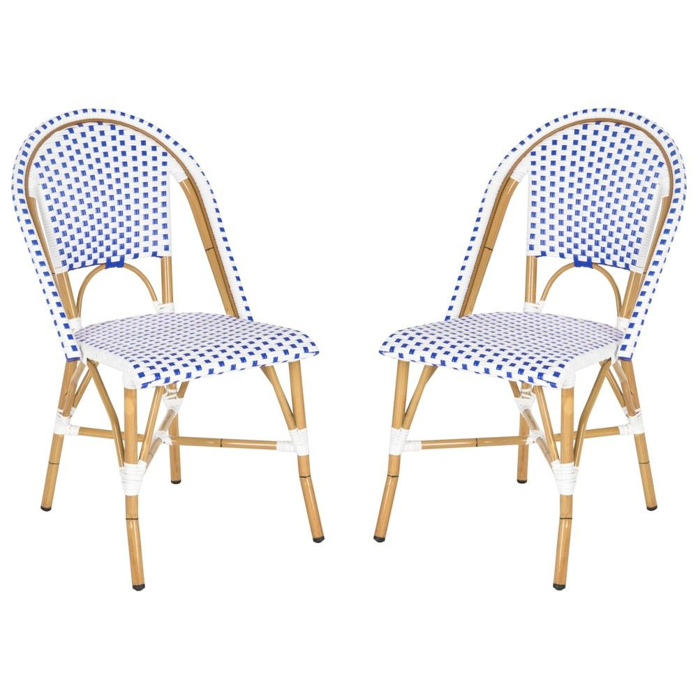Magnificent Toulouse 2Pc Wicker Patio Side Chair Set Blue White Alphanode Cool Chair Designs And Ideas Alphanodeonline