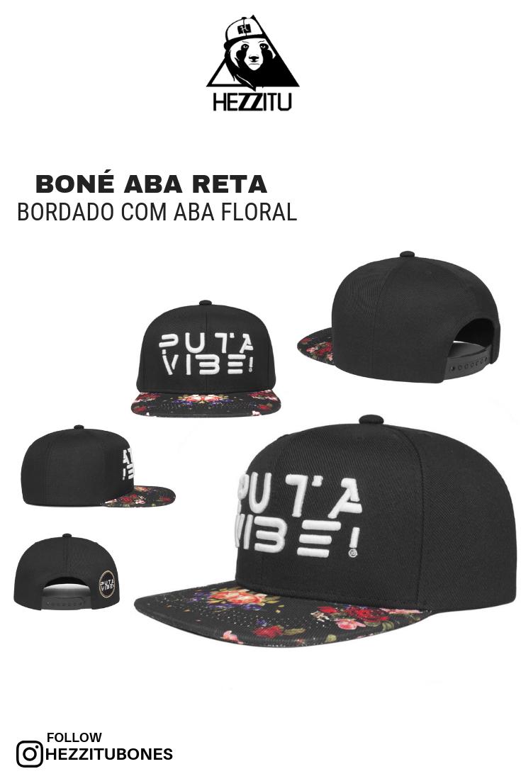 f1c47db31f Boné aba reta bordado com aba floral