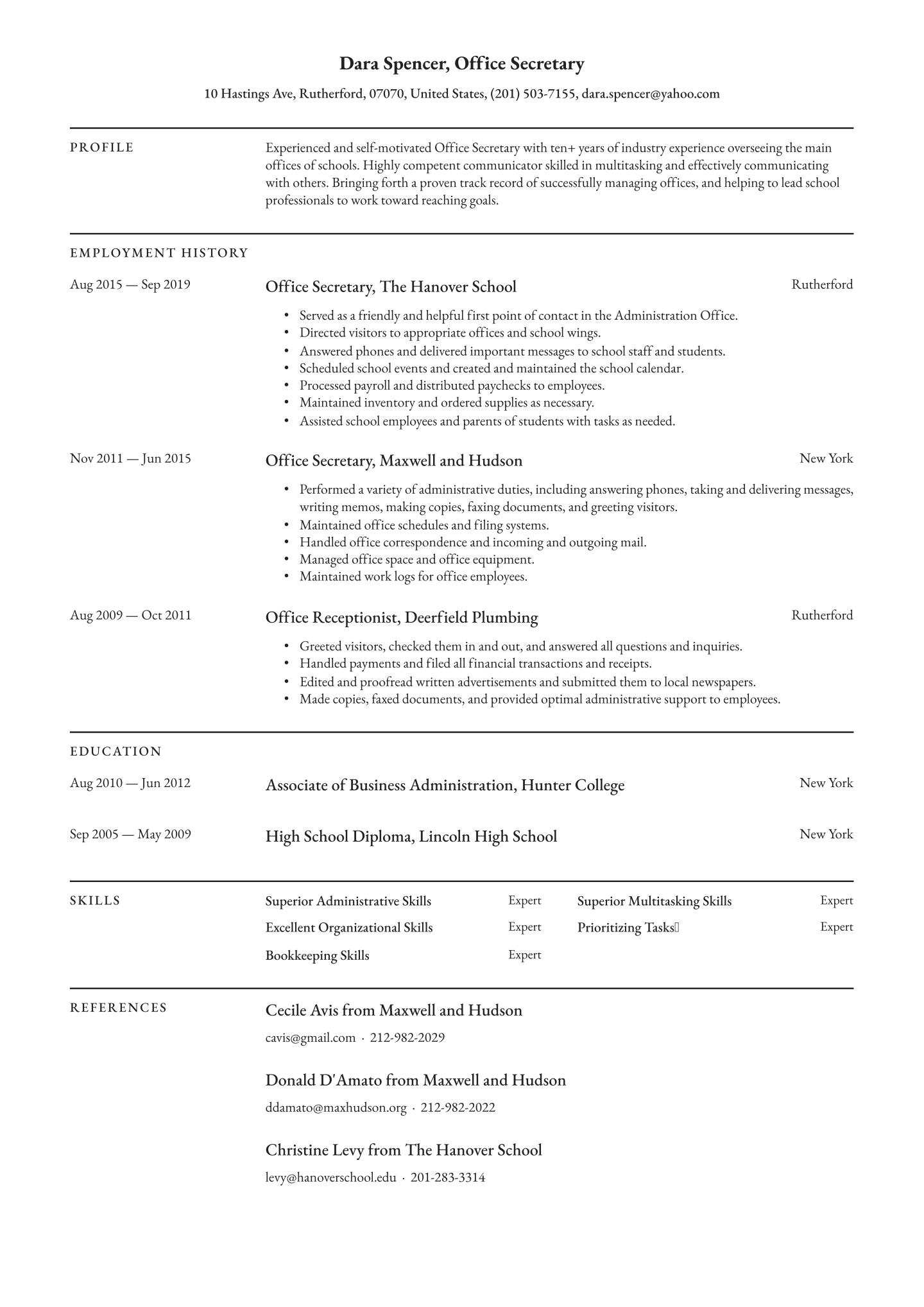 Office Secretary Resume Examples Full Guide 2020 Free Download Resume Io Resume Examples Resume Objective Student Resume Template
