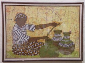 African Cotton Batik Of Daily Life Signed