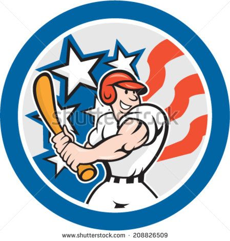 Illustration of an American baseball player batting set inside circle with stars and stripes in the background done in cartoon style. - stock vector #baseball #cartoon #illustration