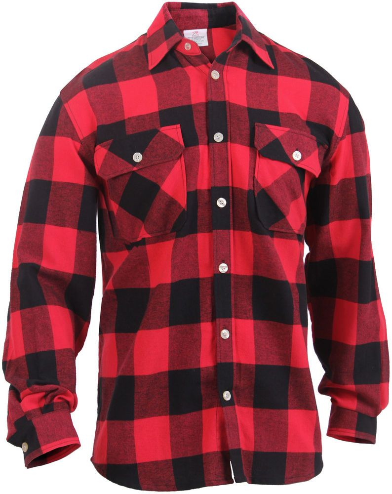 Red Lightweight Classic Brawny Buffalo Plaid Flannel Shirt  ArmyUniverse   PlaidFlannelJacket All Weather Jackets 1198eaf8269