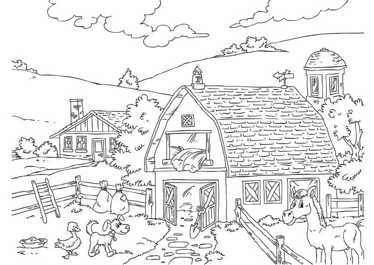 Ausmalbilder Bauernhof 02 Schoul Coloring Pages Farm Animal