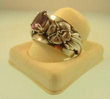 Vintage Carol Felley New Mexico Sterling Silver Floral Blossom Amethyst Ring