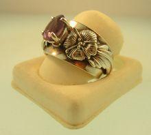 Vintage Carol Felley New Mexico Sterling Silver Floral Blossom Amethyst Ring