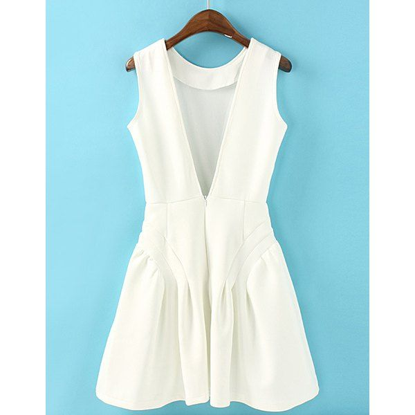 Plunging Backless Solid Color Sleeveless Slimming Simple Style Women's Dress