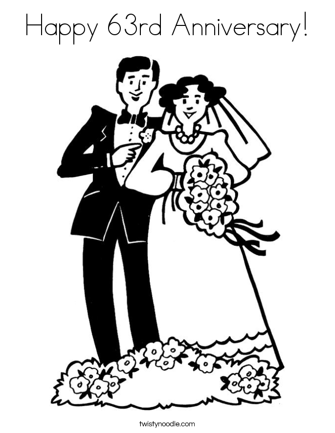 happy wedding anniversary coloring pages
