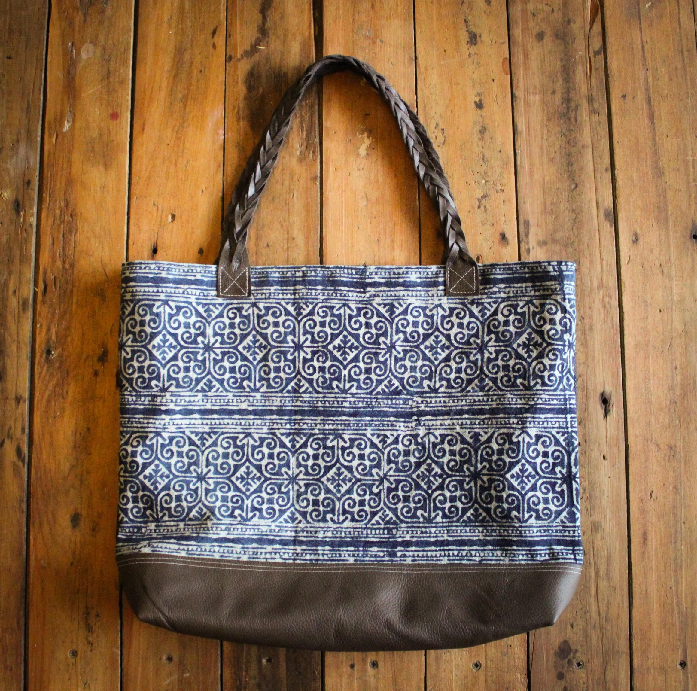 vintage batik fabric and leather tote, by NZFINCH.