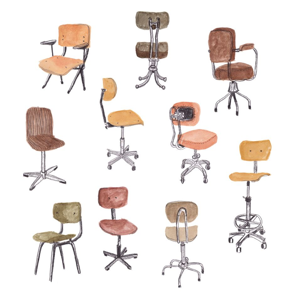 Vintage Desk Chairs By Sanny Van Loon Www Sannyvanloon Com Illustration Pattern Watercolor Sketchbook Illustration Vintage Desk Chair Chair