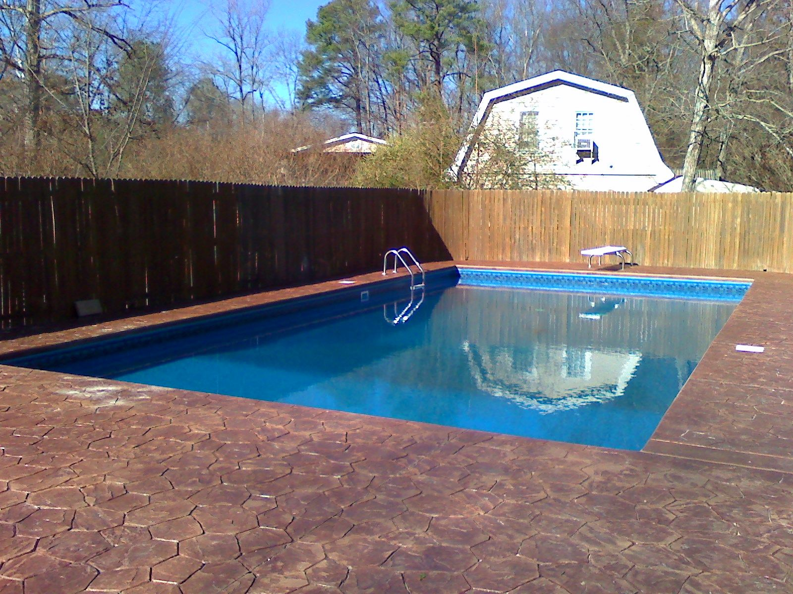 Swiming Pools Wooden Fence With In Ground Pool Liner Also Hand Rails