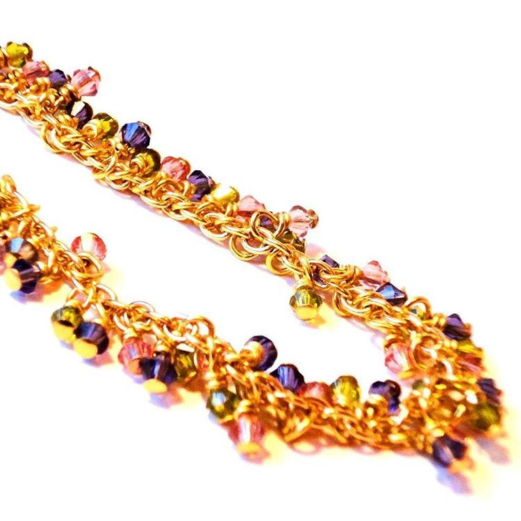Add some colours to your Friday outfit with this dazzling Swarovski Crystal, Cluster Bracelet, Colourful Bracelet, with Olive, Vintage Rose & Tanzanite, Multi Colored Bracelet, Gold Plated Bracelet.