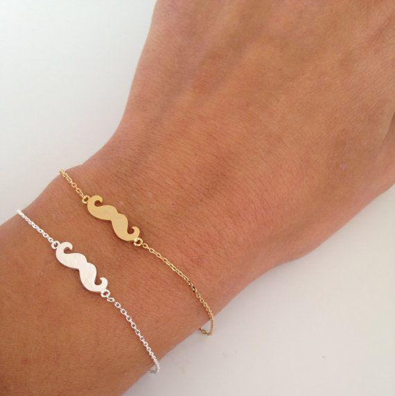 Mustache Bracelet Dainty Everyday Jewelry By Itscalledserendipity 16 00