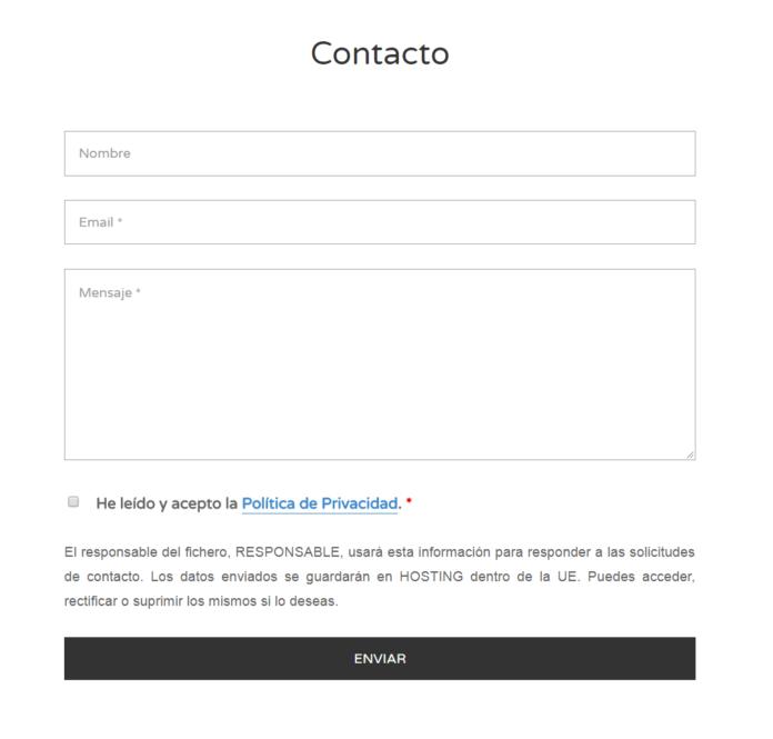 Formulario Con Casilla De Privacidad Y Texto Legal Política Textos Proteccion De Datos
