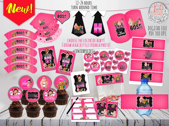Boss Baby Girl Hot Pink Party Kit digital, party favors ...