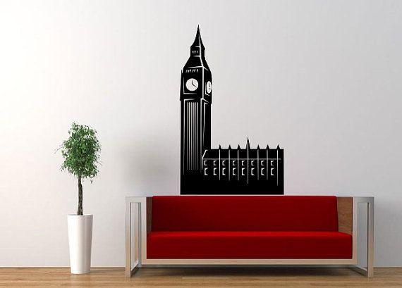 London - Big Ben - London World Famous Wonders Decals, Landmarks Decal, Wall Decals, Room Sticker, Mural Sticker, World Landscape, Places