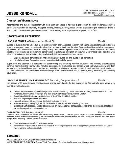 carpenter resume objective samples - Carpenter Resume Objective Samples