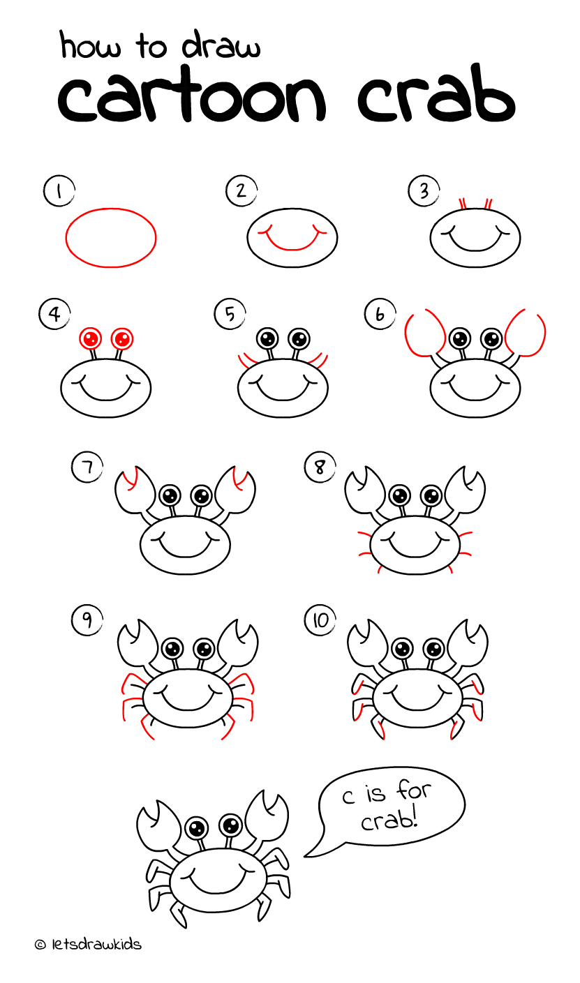 How To Draw Crab Easy Drawing, Step By Step, Perfect For Kids!