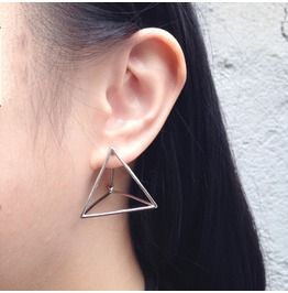 Stereoscopic Triangle Hollow Single Earring Silver