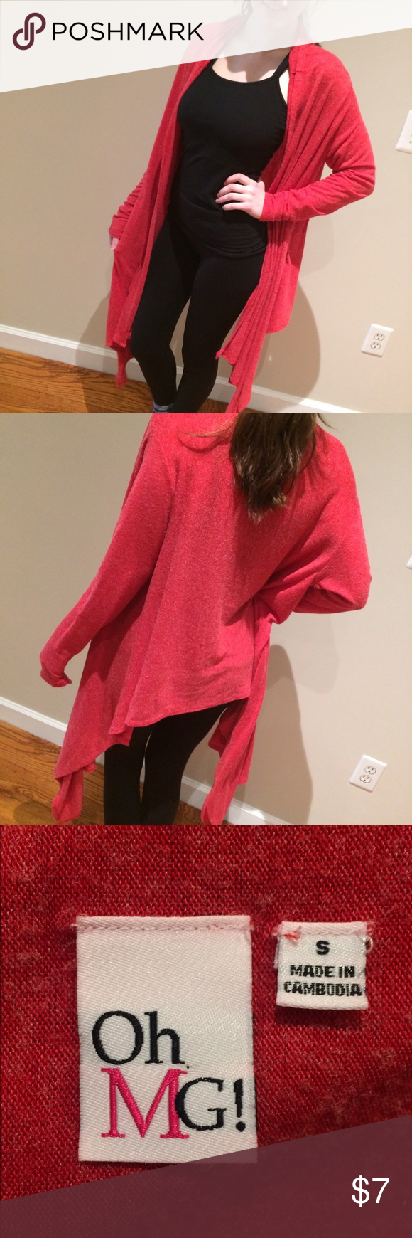 Asymmetrical Cardi by OMG! Asymmetrical Cardi in red by OMG! Flirty, soft and fun, this fine knit Cardi is lighter weight and is shorter in the back. Great when paired with boots and leggings! In great pre owned condition! Machine wash. Sweaters Cardigans