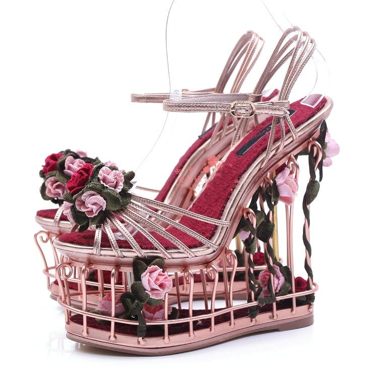 f6ad44411bf Luxury Rose embellished metallic leather cage sandals birdcage wedges cut  out heel sandal flowers heel sandals platform-in Women s Sandals from Shoes  on ...