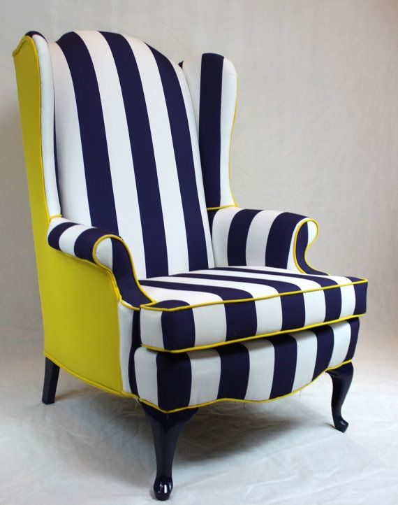 Sold Blue And White Striped Wing Back Chair With Bright Yellow