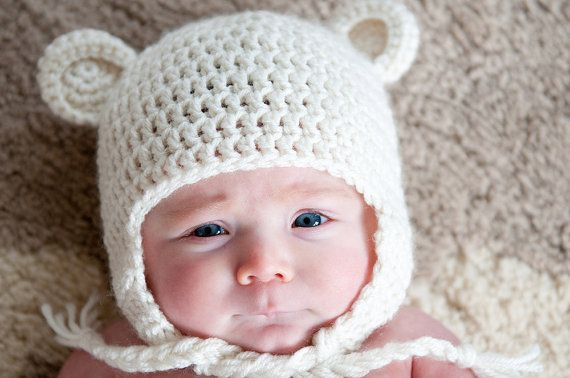 Pdf Pattern For Crochet Baby Bear Beanie Or Earflap Hat With
