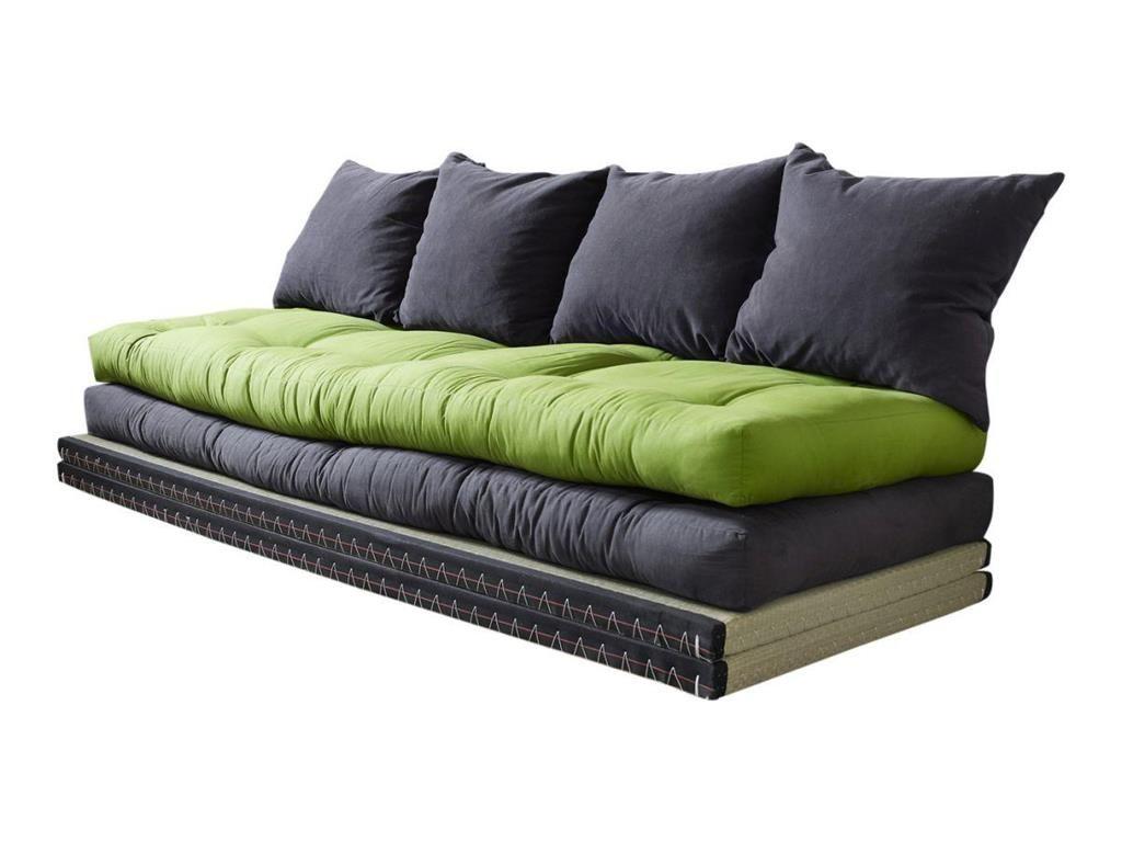 Tatami Matte loungesofa chico grau grün 2x tatami matte 2x futon matratze 4