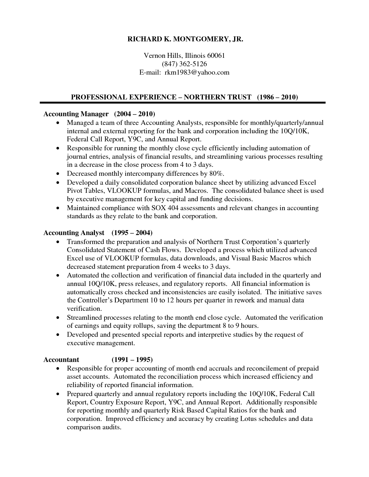 experienced accountant resume sample resume for accountant