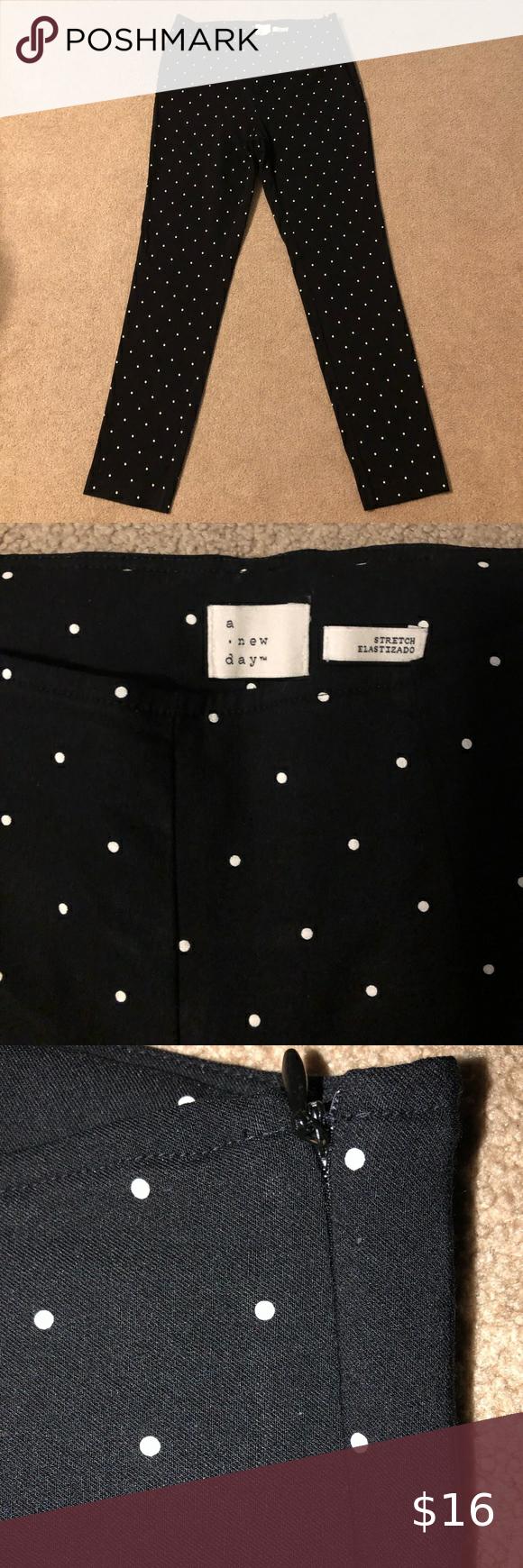 Black Polka Dotted Straight Legged Dress Pants Black Polka Dot Dress Pants Polka Dots [ 1740 x 580 Pixel ]