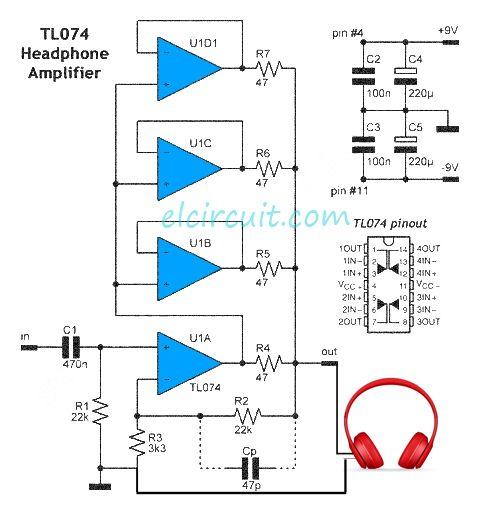 headphone amplifier uses 1 piece tl074 ic electronics pinterest rh pinterest com