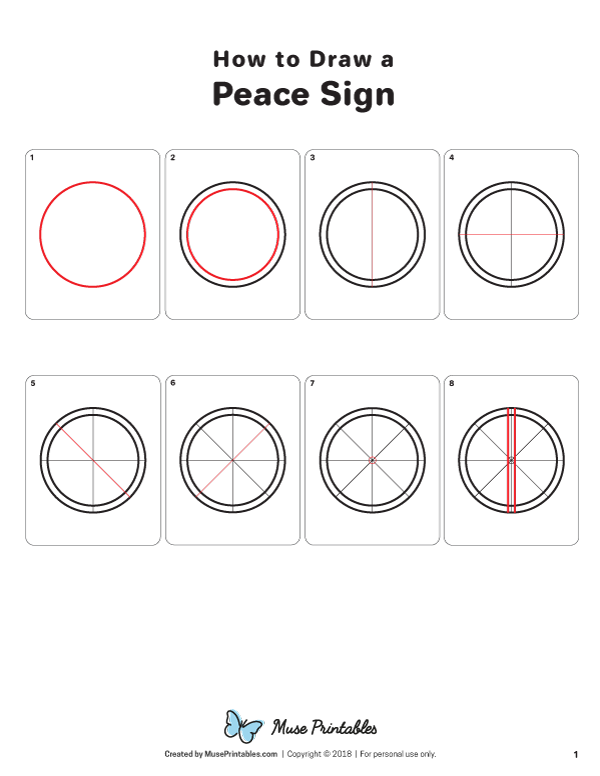 Learn How To Draw A Peace Sign Step By Step Download A Free Printable Version Of This Tutorial At Https Peace Sign Drawing Peace Sign Peace Sign Art Hippie