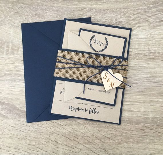 rustic wedding invitation burlap wedding invitation navy blue