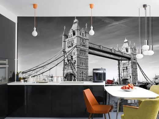 Adding a touch of class with this black and white wall mural of London Bridge...for all the London lovers out there!