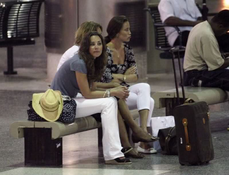 December 27, 2007, Kate Middleton and her family prepare to board a flight bound for the UK at Grantley Adams International Airport after spending the Christmas holiday in the Caribbean Island of Barbados.