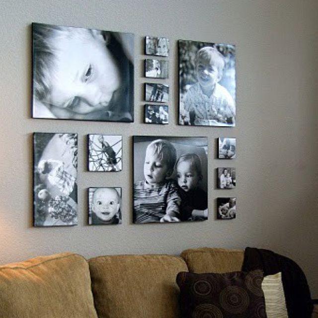 Great photo arrangement photo ideas pinterest diy for Canvas print arrangement ideas
