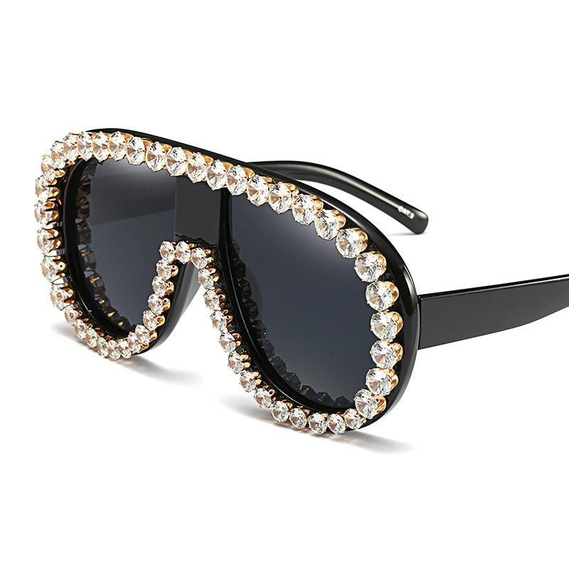 828527c3ae5 PANDDOG Luxury Diamond Decorate Oversize Union Frame Fashion Vintage Sunglasses  Women With Glasses Case And Cloth YWFDY97363