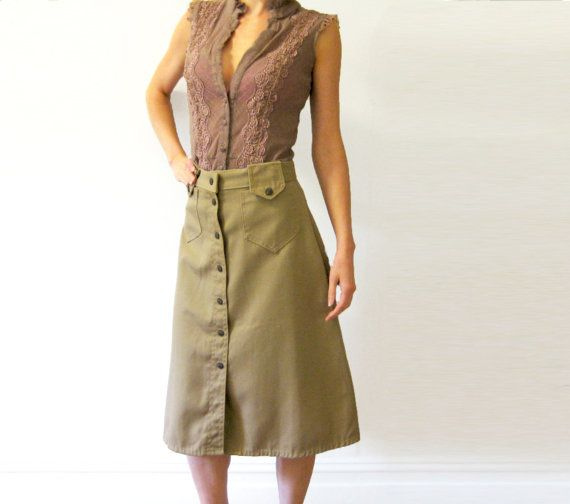 Button Front Skirt with cute Front Pockets by AllMyLoveVintage. From the '80s?
