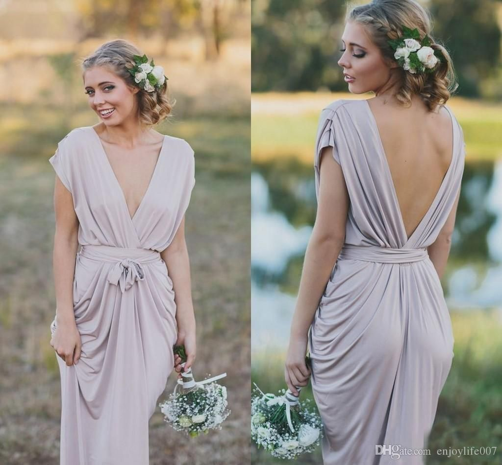 French country grey boho bridesmaid dresses short sleeve backless