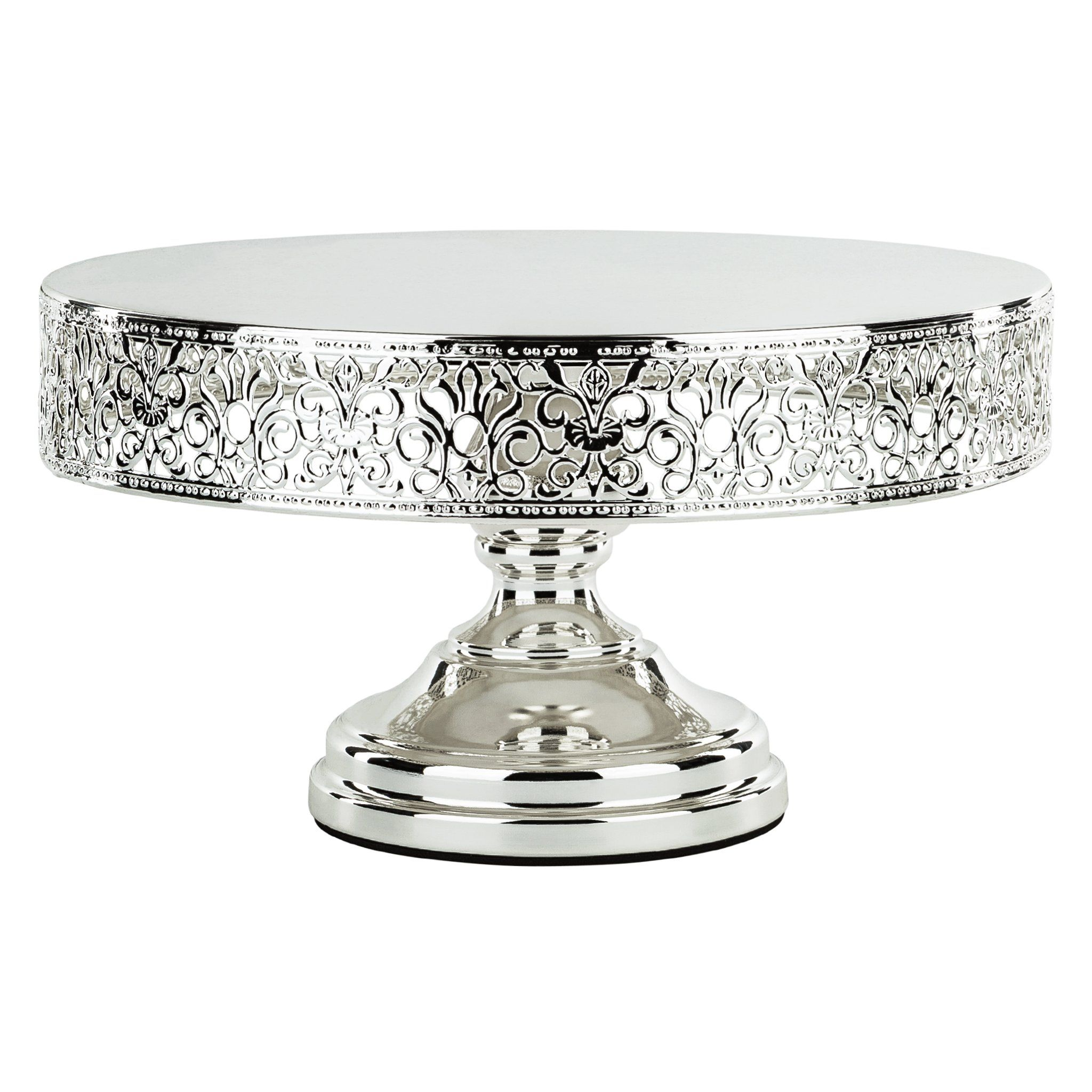 12 Inch Round Shiny Metallic Wedding Cake Stand Silver Plated
