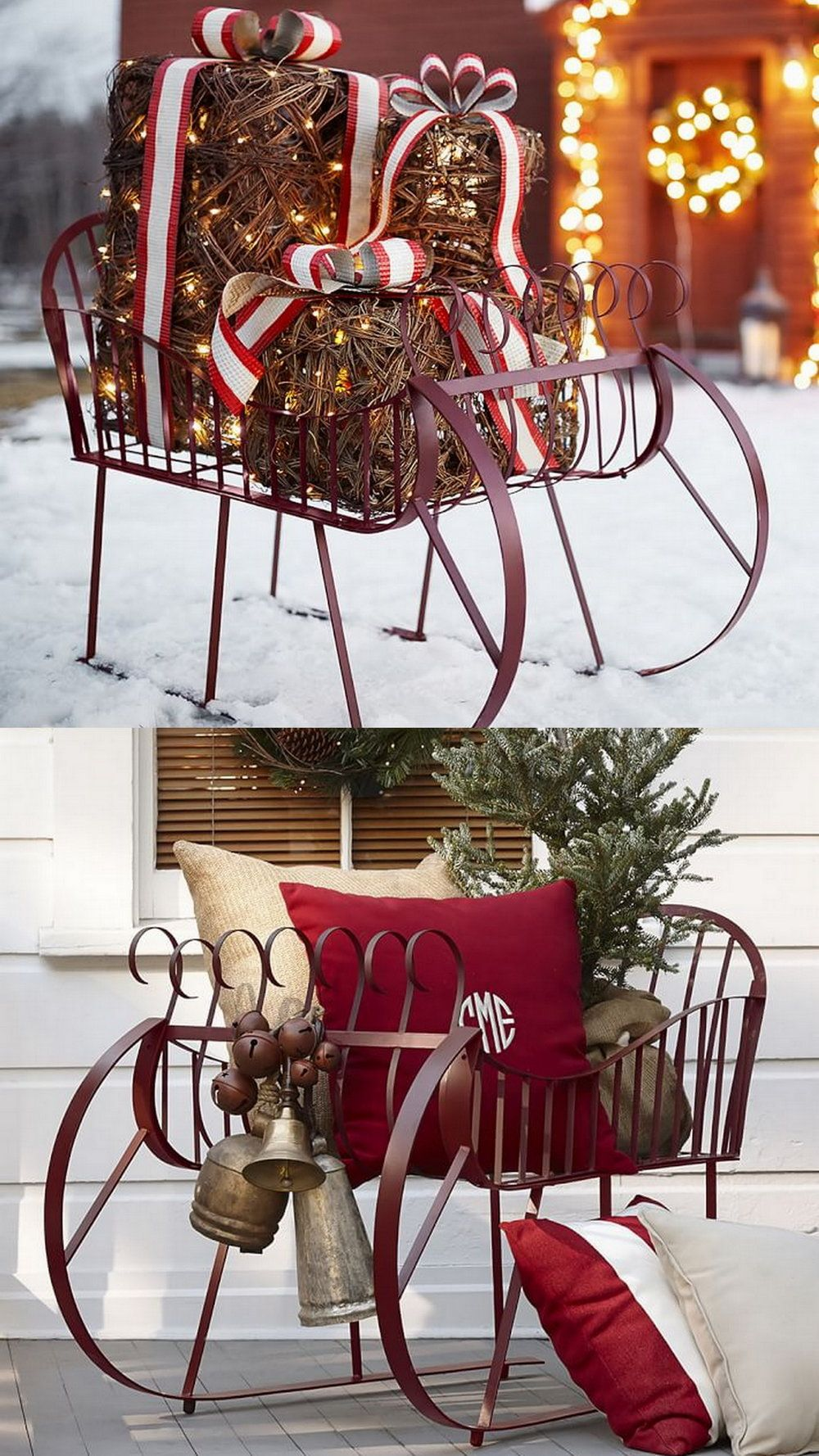 27 exceptional outdoor christmas decorations potterybarn - Burlap Outdoor Christmas Decorations