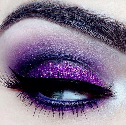 eye makeup dramatic bright glitter smokey purple - Fashion Jot ...