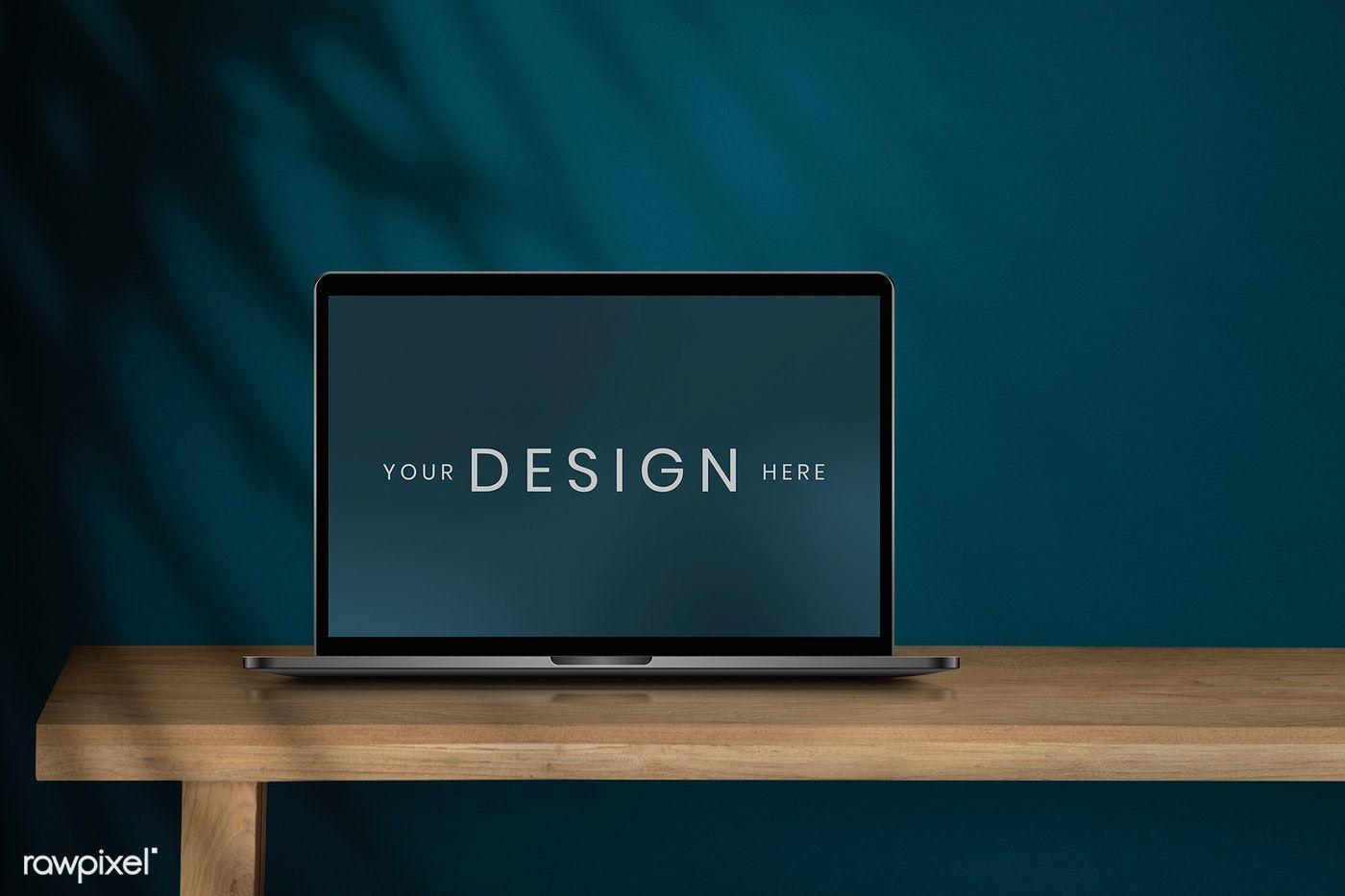 Download Premium Psd Of Laptop Screen Mockup On A Wooden Table 894301 Laptop Screen Wooden Tables Design Mockup Free
