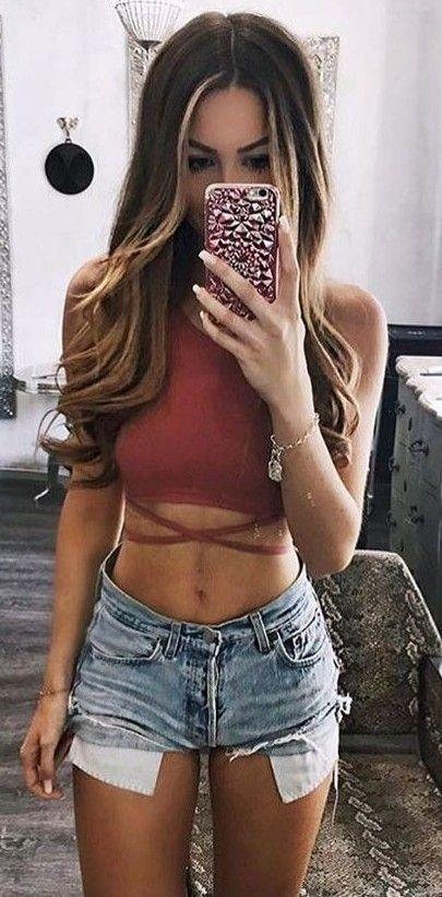 #summer #trendy #outfits   Rust + Denim