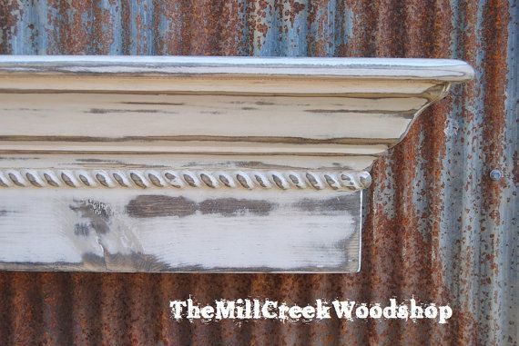 Distressed Wall Shelf 60 Inches Crown Molding Floating Ledge Etsy Distressed Walls Wall Shelves Crown Molding