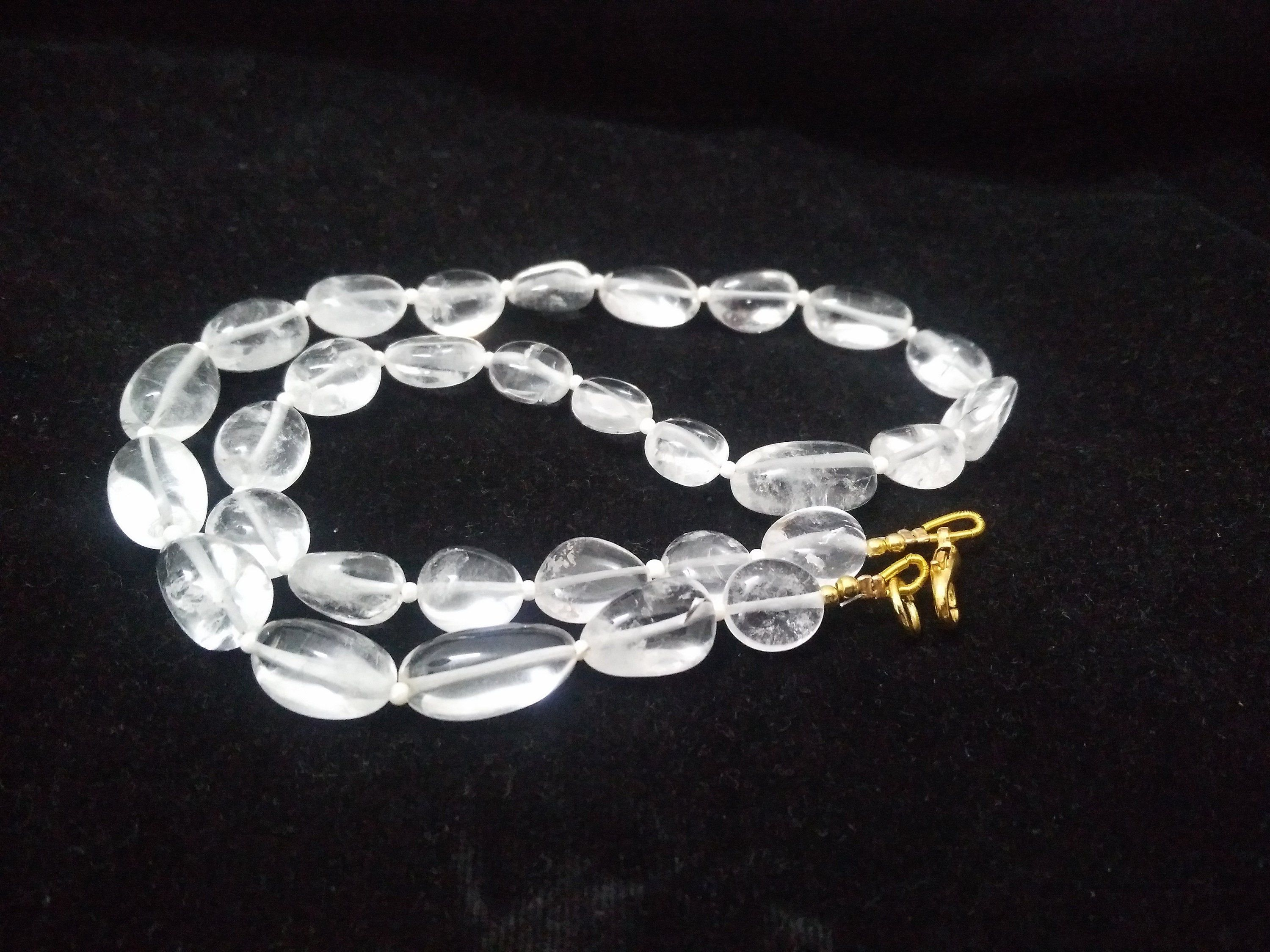 clear crystal quartz necklace Smooth nuggets beads nacklace 10-15mm,AAA beads,beautiful smooth beads 16 nacklace silver plating clasp #quartznecklace