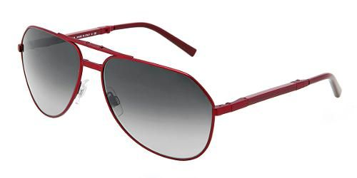 Dolce & Gabbana Eyewear: model 2106  - Unisex Sunglasses Collection. Pilot - Foldable with Matte Red Frame and Gray Lens.